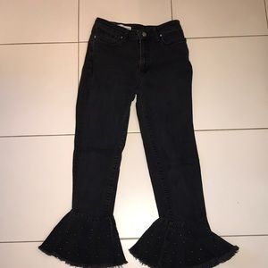 Black Jeans with flare at bottom w/ design